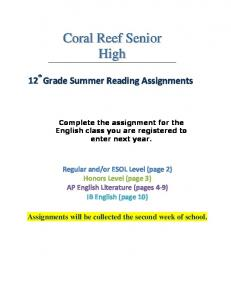 12 th Grade Summer Reading Assignments
