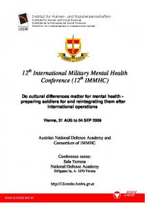 12 th International Military Mental Health Conference (12 th IMMHC)