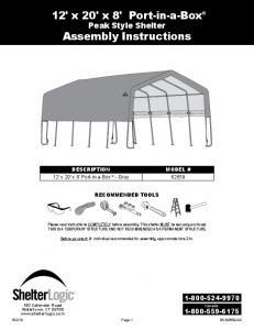 12' x 20' x 8' Port-in-a-Box Peak Style Shelter Assembly Instructions