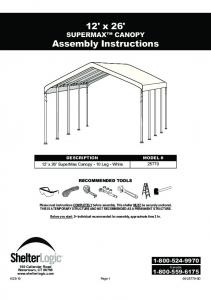 12' x 26' SUPERMAX CANOPY Assembly Instructions