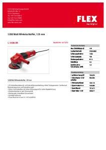 1200 Watt Winkelschleifer, 125 mm L 1506 VR