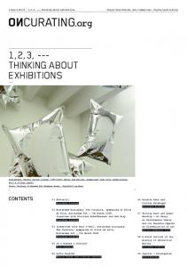 1,2,3, --- THINKING ABOUT EXHIBITIONS