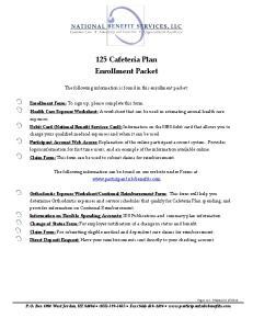 125 Cafeteria Plan Enrollment Packet