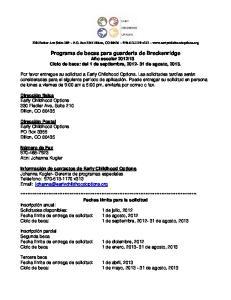 13 Ciclo de beca: del 1 de septiembre, de agosto, 2013