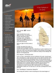 13 Day Highlights of Sri Lanka