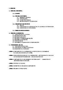 1.3.- DESCRIPCION DEL PROYECTO OBJETO DESCRIPCION DEL ESTADO ACTUAL DE LA ZONA DE INTERVENCION DESCRIPCION DE PATOLOGIAS