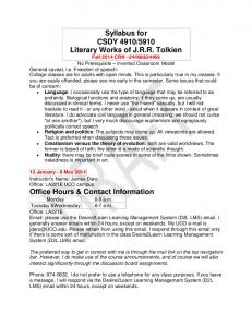 13 January - 9 May 2014 Instructor's Name: James Daro Office: LA221E UCO campus Office Hours & Contact Information
