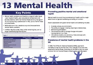 13 Mental Health. Key Points. Promoting positive mental and emotional health. Prevalence of mental health problems in the UK