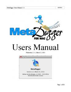13. MetaDigger Users Manual Users Manual. Publication 2.2.1, March 25, Page 1 of 83
