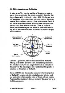 13. Right Ascension and Declination