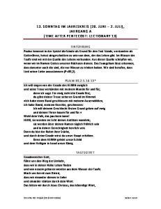 13. SONNTAG IM JAHRESKREIS (26. JUNI 2. JULI), JAHRGANG A (TIME AFTER PENTECOST: LECTIONARY 13)