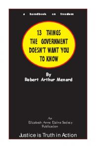 13 THINGS THE GOVERNMENT DOESN T WANT YOU TO KNOW