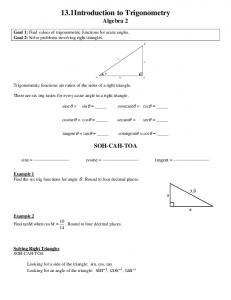 13.1Introduction to Trigonometry Algebra 2