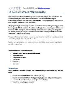 14 Day Fat Furnace Program Guide