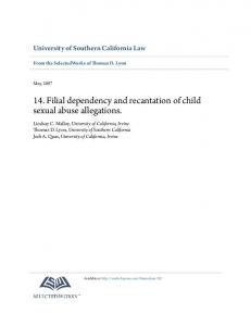 14. Filial dependency and recantation of child sexual abuse allegations