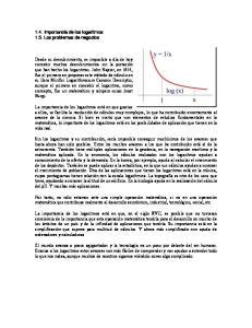 1.4. Importancia de los logaritmos 1.5. Los problemas de negocios