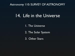 14. Life in the Universe