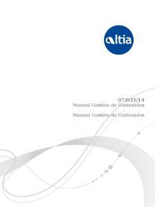14 Manual Gestión de Contenidos. Manual Gestión de Contenidos