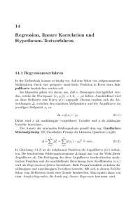 14 Regression, lineare Korrelation und Hypothesen-Testverfahren