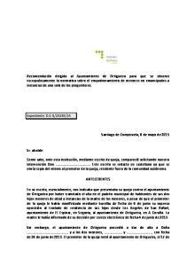 14. Santiago de Compostela, 8 de mayo de Sr. alcalde: