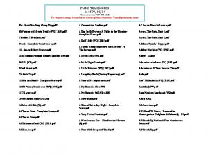 14 These scores are NOT FOR SALE. To request songs from these scores please contact: