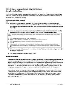 1401: Analyze a Language Sample Using SALT Software Using the Analyze Menu