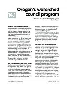14.1. Oregon s watershed council program. What are local watershed councils? The role of local watershed councils