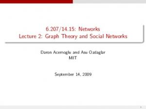 14.15: Networks Lecture 2: Graph Theory and Social Networks