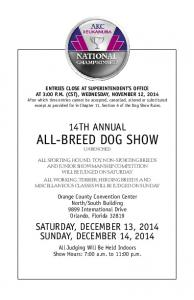 14TH ANNUAL ALL-BREED DOG SHOW UNBENCHED