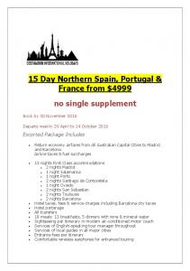 15 Day Northern Spain, Portugal & France from $4999. no single supplement