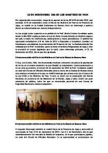 15 DE NOVIEMBRE: DIA DE LOS MARTIRES DE YAVI