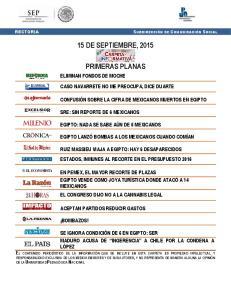 15 DE SEPTIEMBRE, 2015 PRIMERAS PLANAS