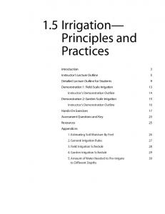 1.5 Irrigation Principles and Practices