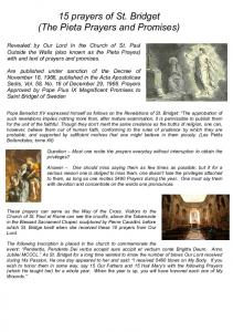 15 prayers of St. Bridget (The Pieta Prayers and Promises)
