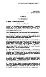 15) PROYECTO DE LEY. Derechos de la Naturaleza