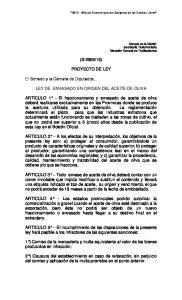 15) PROYECTO DE LEY LEY DE ENVASADO EN ORIGEN DEL ACEITE DE OLIVA