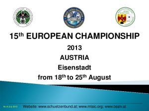 15 th EUROPEAN CHAMPIONSHIP