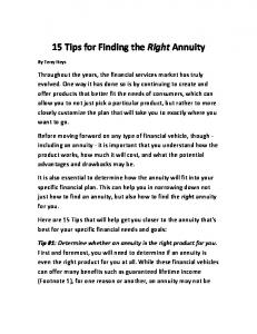 15 Tips for Finding the Right Annuity