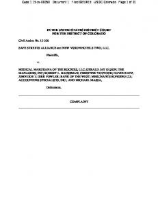15 USDC Colorado Page 1 of 31 IN THE UNITED STATES DISTRICT COURT FOR THE DISTRICT OF COLORADO