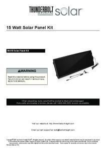 15 Watt Solar Panel Kit