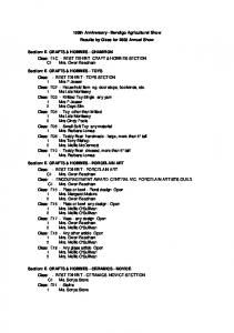 150th Anniversary - Bendigo Agricultural Show Results by Class for 2009 Annual Show