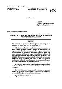 155ª reunión INFORME DE EVALUACION DEL PROYECTO TRANSDISCIPLINARIO HACIA UNA CULTURA DE PAZ RESUMEN