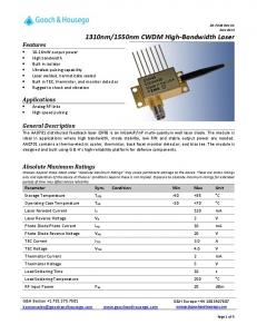 1550nm CWDM High-Bandwidth Laser