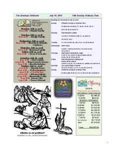 15o Domingo Ordinario July 10, th Sunday Ordinary Time