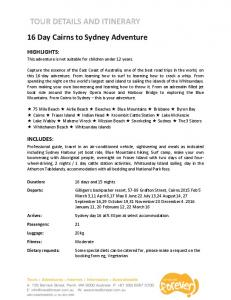 16 Day Cairns to Sydney Adventure