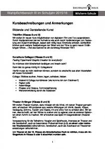 16. Kursbeschreibungen und Anmerkungen. Bildende und Darstellende Kunst. Trickfilm (Klasse 8 und 9)
