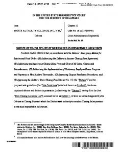 16 Page 1 of 328 IN THE UNITED STATES BANKRUPTCY COURT FOR THE DISTRICT OF  DELAWARE - KIPDF.COM