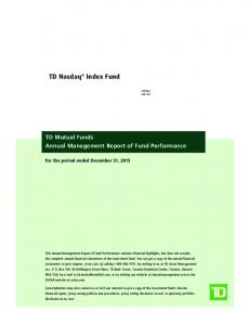 16) TD Mutual Funds Annual Management Report of Fund Performance
