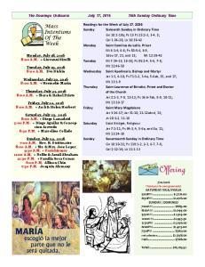 16o Domingo Ordinario July 17, th Sunday Ordinary Time