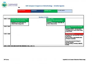 16th European Congress on Biotechnology Detailed Agenda
